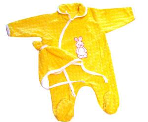 Детские желтый костюм из махры