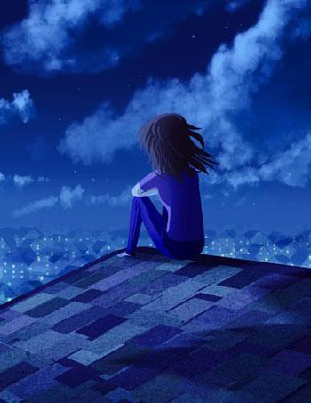 Девушка на крыше ночью