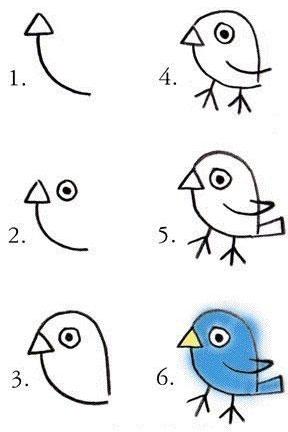 Как нарисовать птичку ребенку поэтапно