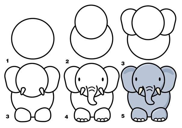 Рисовать слона поэтапно ребенку