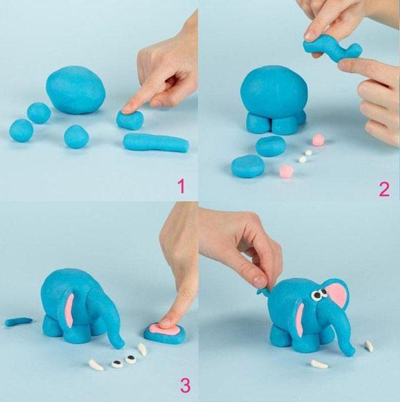Как слепить из пластилина слоника