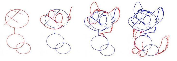 Как поэтапно нарисовать собаку и щенка карандашом