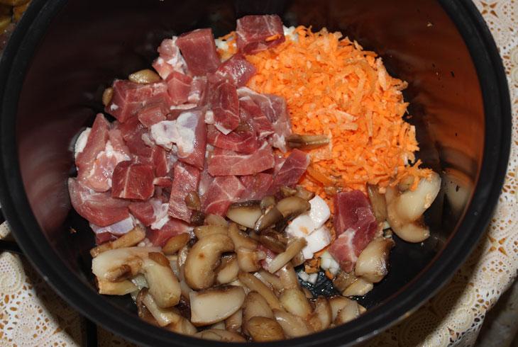 Тушеное мясо с грибами в мультиварке Redmond RMC-M70