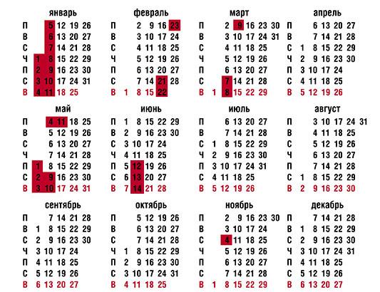 Календарь праздничных дней 2015